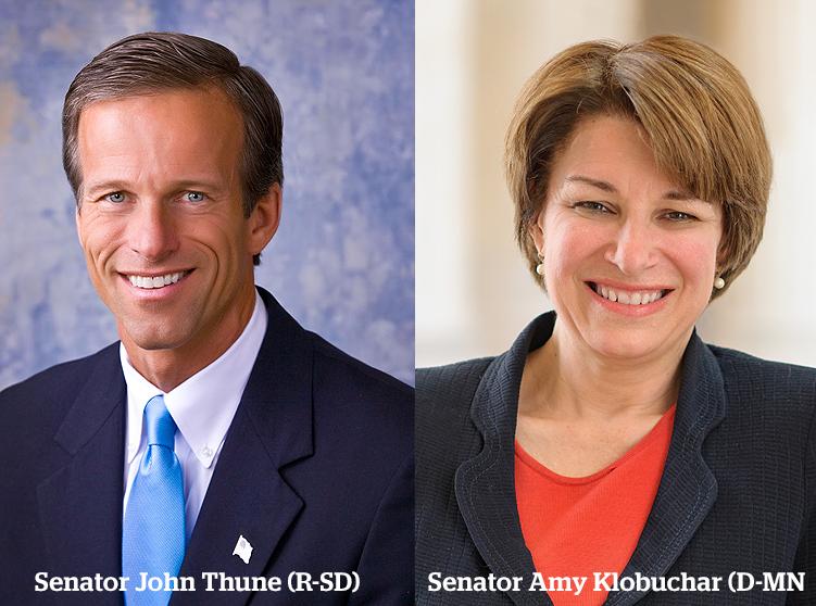 Senator John Thune (R-S.D.) and Senator Amy Klobuchar (D-Minn.)